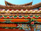 bunte Bemalung und tibetische Schrift