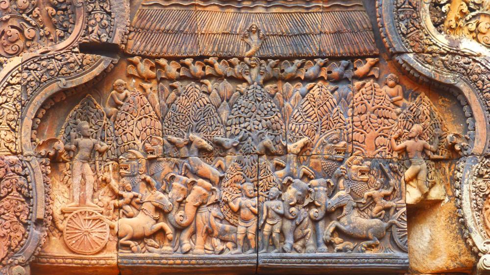 Banteay Srey - Eine der vielen Darstellungen aus dem Angkor-Reich_P1040424