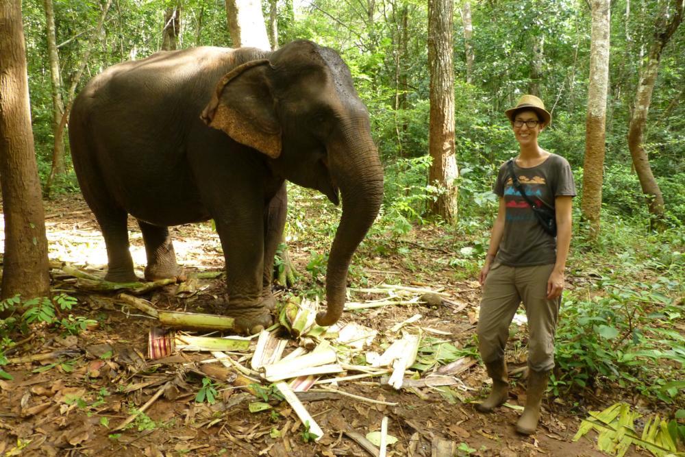 Nadine smiled mit einem Elefanten um die Wette..._P1050178